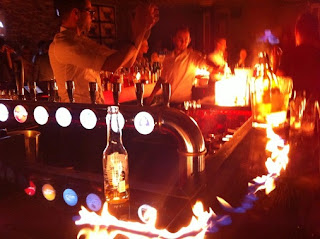 Setting fire to the bar in B.Pub, Cannes