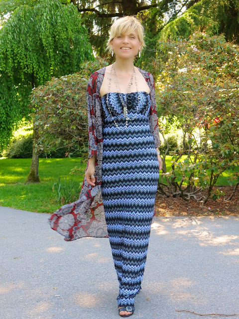 Styling a striped maxi dress with a floral chiffon kimono