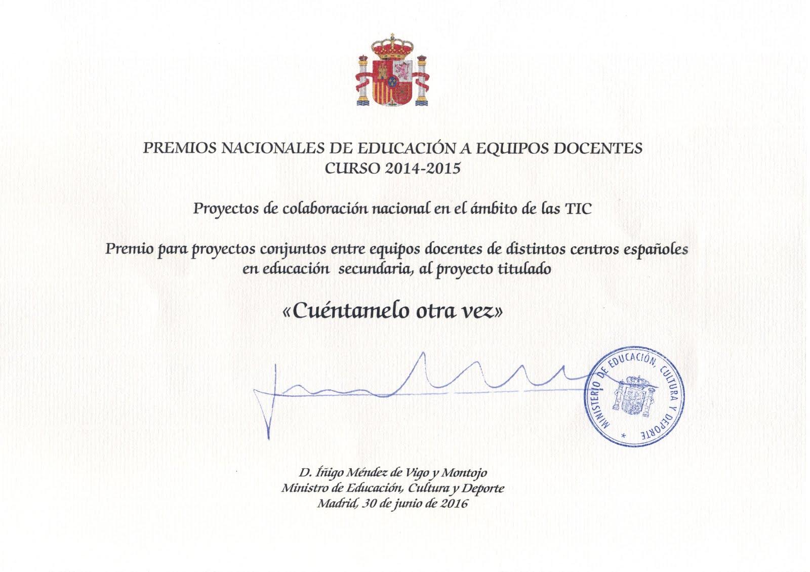 PREMIO NACIONAL DE EDUCACIÓN A EQUIPOS DOCENTES 2014/2015