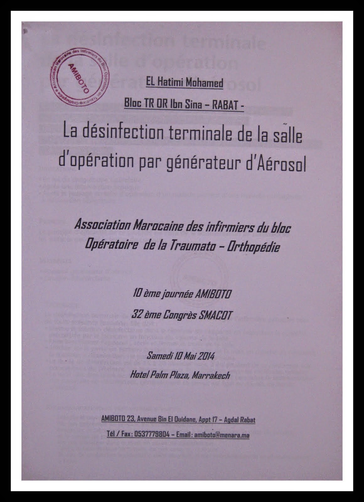 LA DESINFECTION TERMINALE DE LA SALLE D OPERATIPTION PAR GENERATEUR D AEROSOL