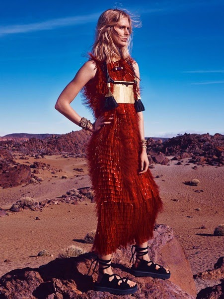 Dolce & Gabbana Spring 2014 Editorial: Red PVC Fringed Dress