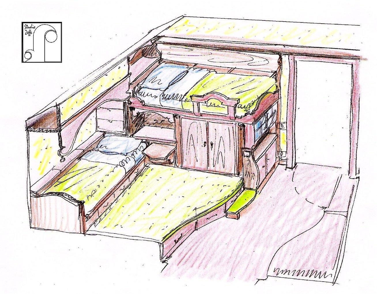 Prospettiva centrale di una stanza arredata for Disegnare mobili
