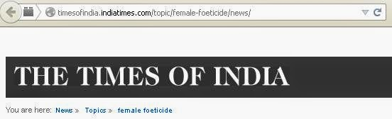 Articles about Female Foeticide in Times of India