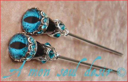 Pics à Cheveux gothique oeil yeux bijoux Gothic Eyes Hair Sticks
