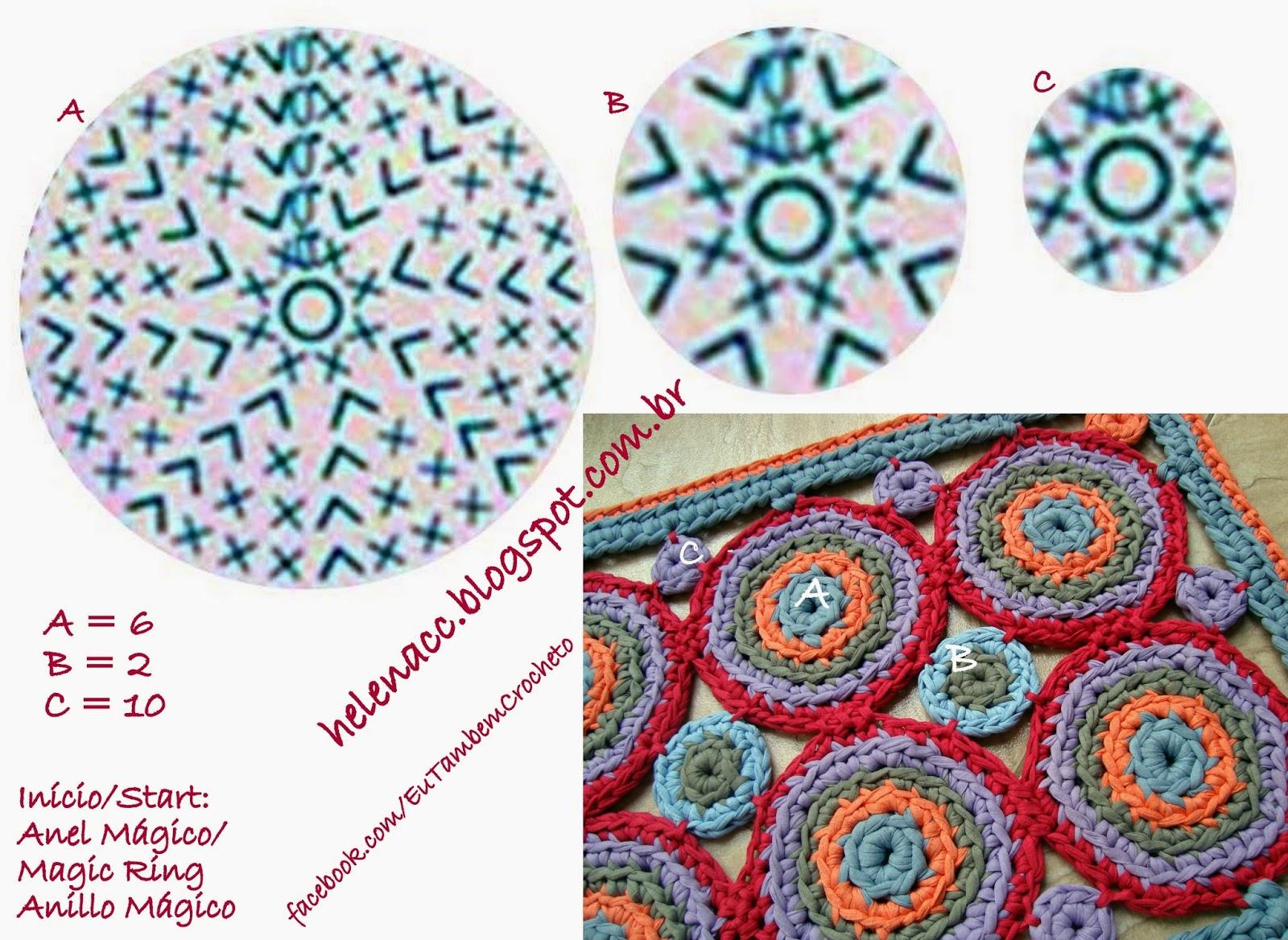 Квадратный коврик схема вязания