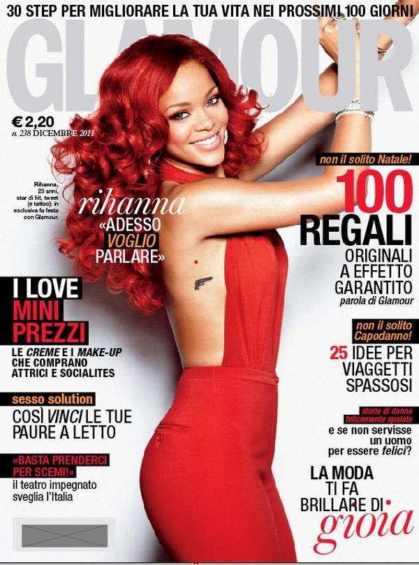 Rihanna is a red-head beauty for Glamour Italy, December 2011
