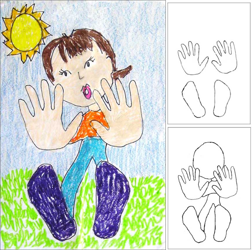 Falling away drawing art projects for kids for Hand and feet painting ideas