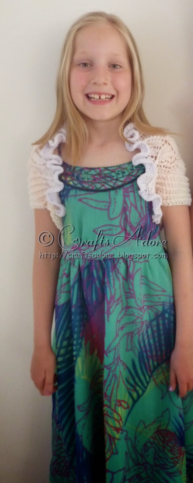 CraftsAdore: Knitted Girl Lacy Bellflowers Shrug Free Knitting Pattern