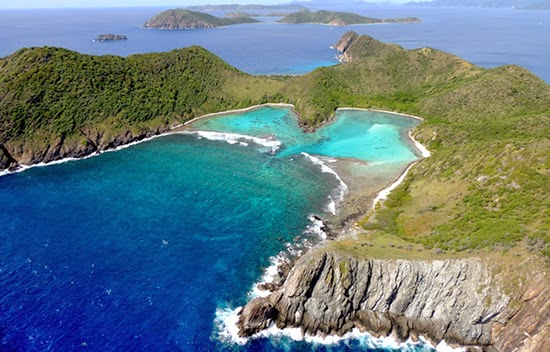 The bay at the private island for sale in the British Virgin Islands (BVI)