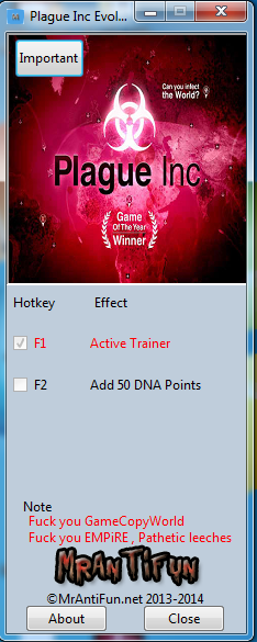 Plague Inc Evolved V4.3.1.28294 Trainer +1 MrAntiFun