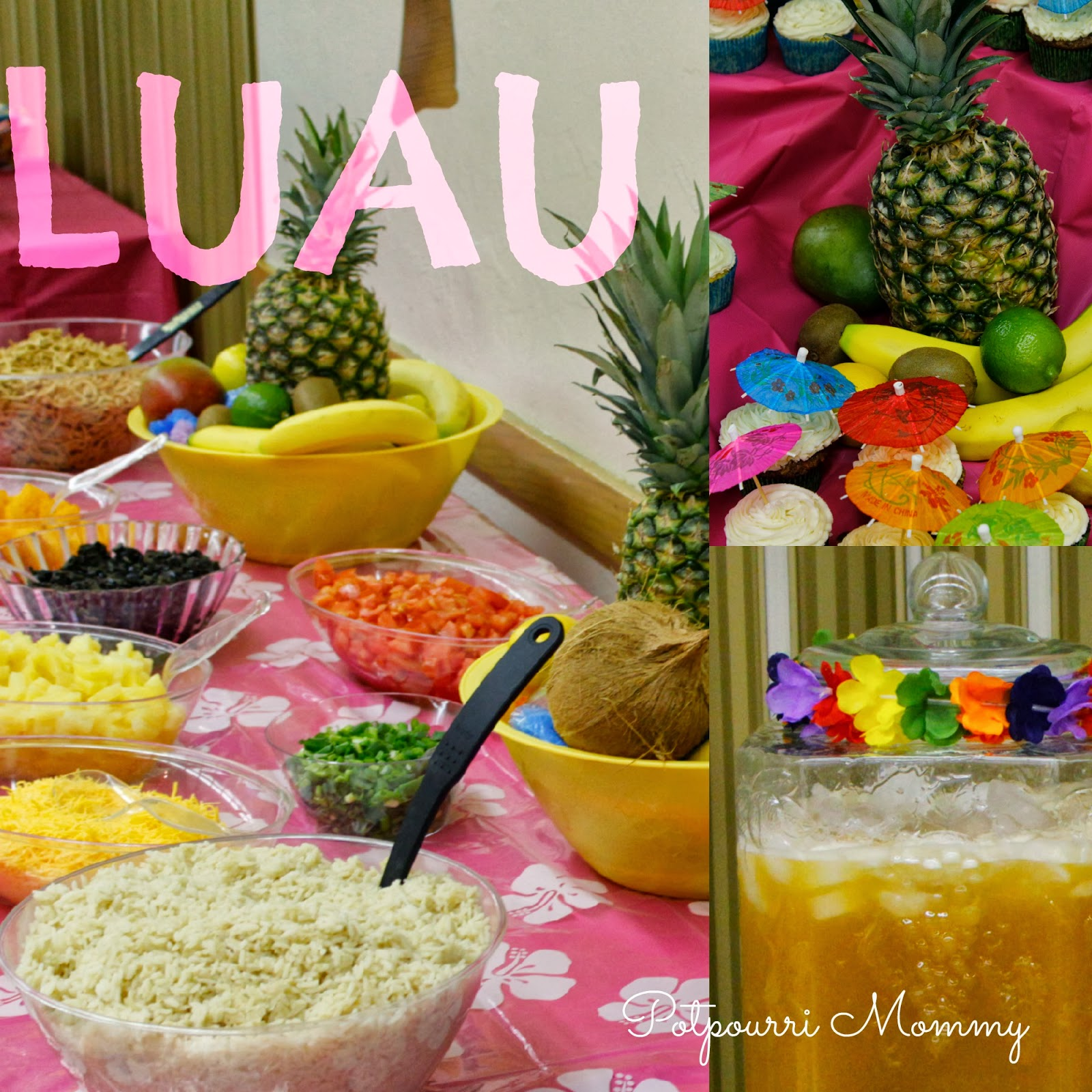 Potpourri mommy luau party for Luau decorations