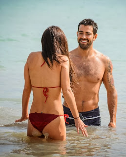 English: Cara Santana Red Bikini Jesse Metcalfe Mexico