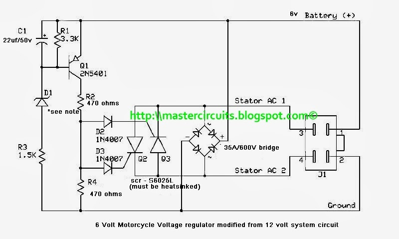 6 volts motorcycle regulator techy at day blogger at noon and rh mastercircuits blogspot com 6 Volt Generator Wiring Diagram 6 Volt Charging System Diagram 1956 Dodge Pickup