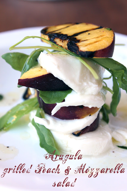 layered salad: grilled peach, arugula and mozzarella