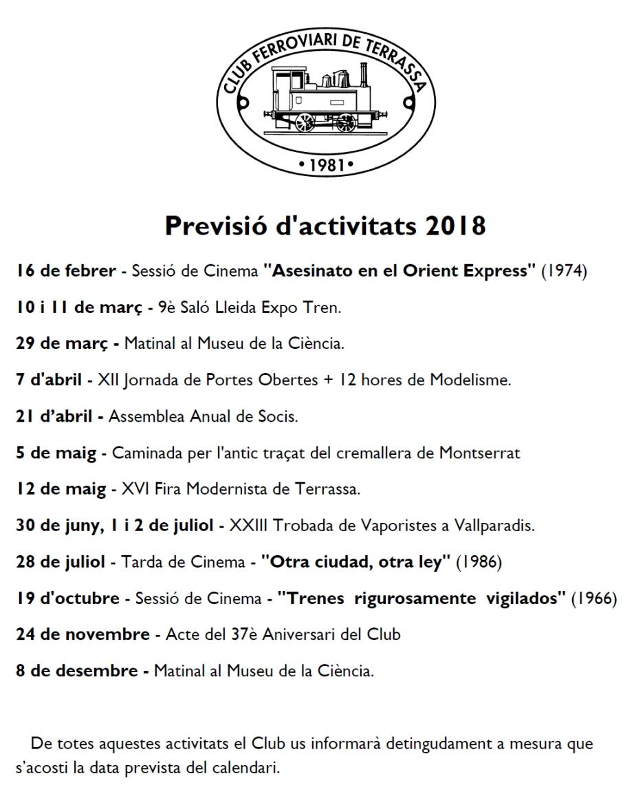 Modificació de la Previsió d'activitats - 15-JULIOL-2018