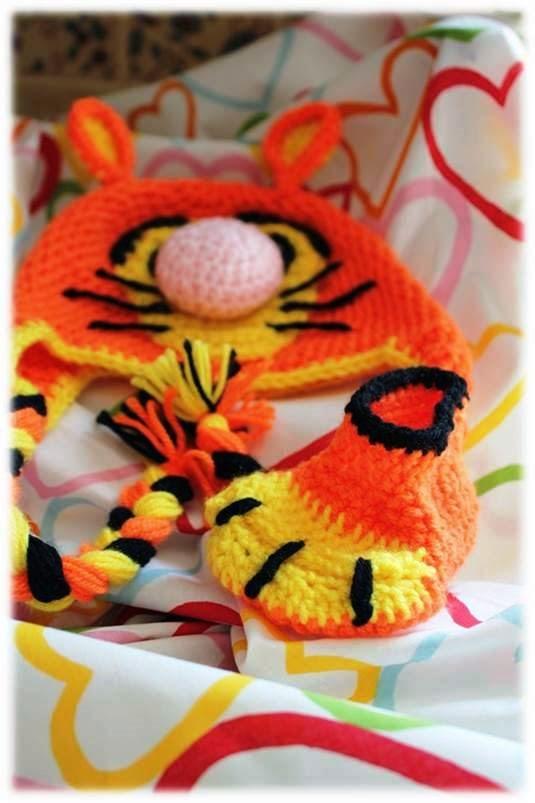 buciki szydełkowe, buciki tygryska, tygrysek na szyedłku