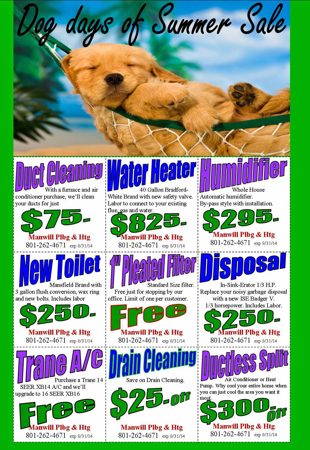 Dog Days of Summer Coupons | Manwill Plumbing