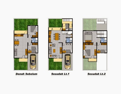 desain renovasi rumah type 45 menjadi 2 lantai desain