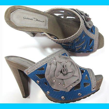 луксозни летни чехли на висок ток в синьо и бежово