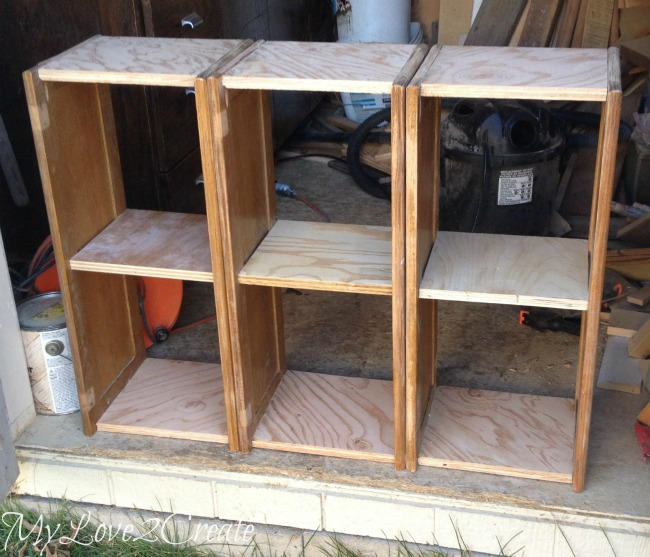 Three desk sections made from cabinet doors