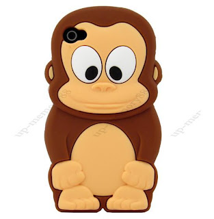 Cute Brown 3D Baby Tiny Monkey Soft Silicone Case Cover for iPhone 4 4G 4S E22