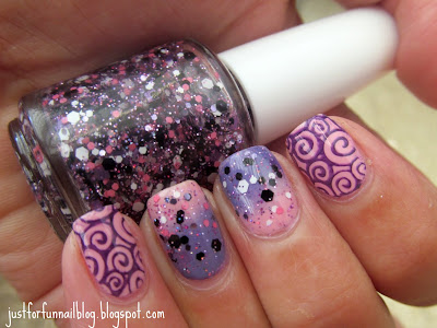 pink & purple nails with Lush Lacquer - Glitter Girl & KIKO 376