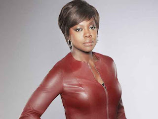 Professor Annalise Keating in red leather jacket
