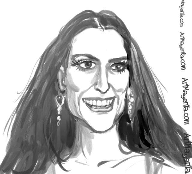 Demi Moore caricature cartoon. Portrait drawing by caricaturist Artmagenta.