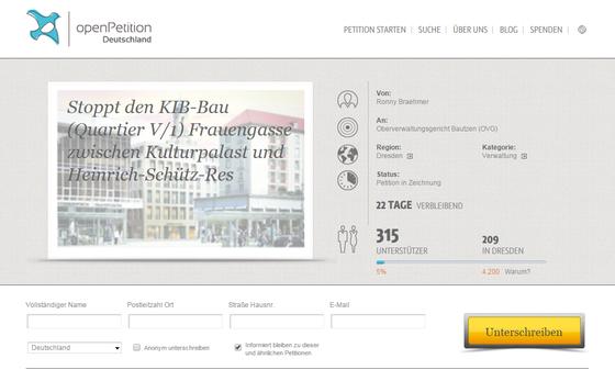 Online-Petition Stoppt den KIB-Bau (Quartier V/1)