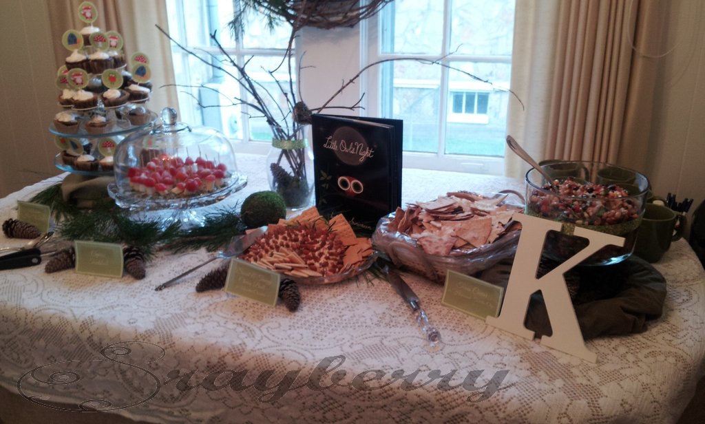 food, woodland baby shower, decorations