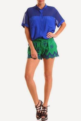 Colcci Verão 2014 moda feminina Short bordado verde e azul