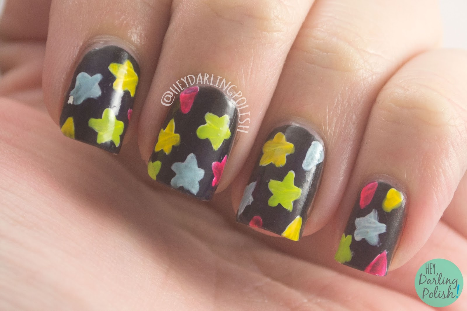 nails, nail art, nail polish, stars, 80s, hey darling polish, pattern, 52 week challenge