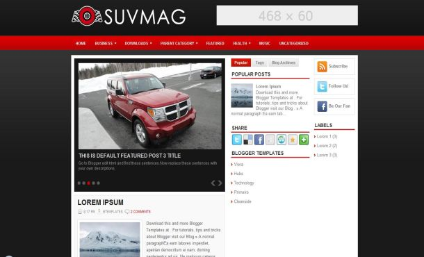 Free Blogger Cars Red Heart Web2.0 Template