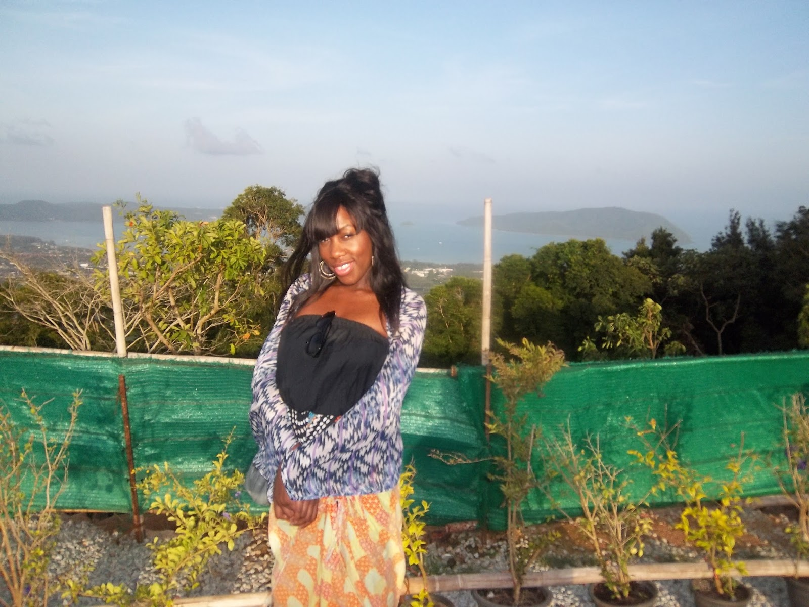 views from big buddha thailand, black girl sight seeing, black girl sarong,