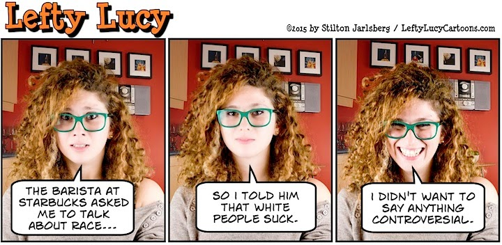 lefty lucy, liberal, progressive, political, humor, cartoon, stilton jarlsberg, conservative, clueless, young, red hair, green glasses, cute, democrat, starbucks, race together, obama
