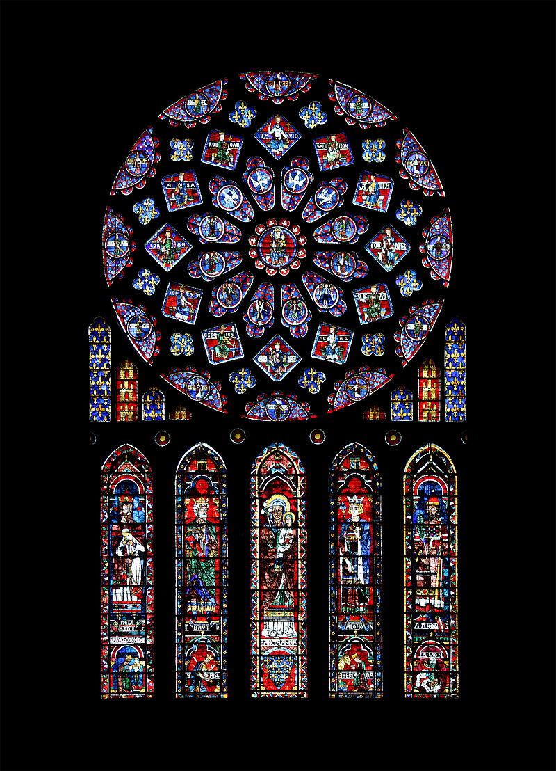 North Rose Window At Notre Dame Cathedral Chartres France C 1235