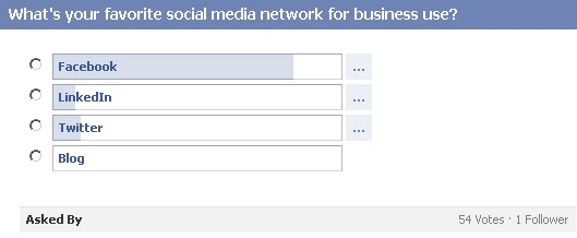 GotPrint Facebook question/poll - what's your favorite social media network for business use?