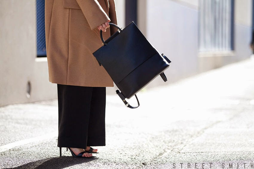 Photography by Liz at Street Smith - Mandi of Find Me A Muse wearing Stella McCartney beige wool coat, Celine ZZ top sunglasses, 3.1 Phillip Lim wide leg trousers, Building Blocks leather back pack, Witchery roll neck knit, Zara sandals