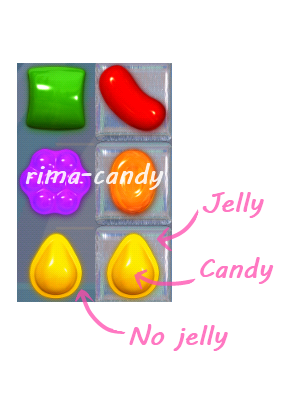 jelly in Candy Crush, not to be confused with the multi colored candy