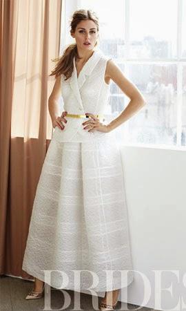 vestido de casamento Romona Keveza com Olivia Palermo em Brides
