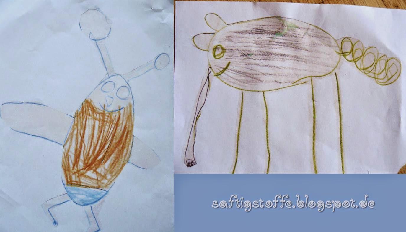 """Kinderzeichnungen """"Käfer"""" und """"Elefant"""""""