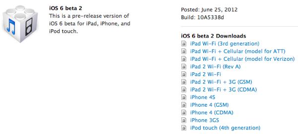 iOS 6 beta 2 - atualização