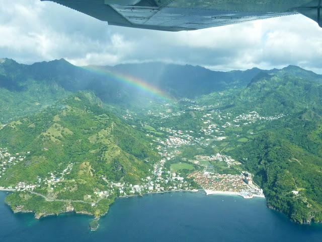 Foto aérea de San vincet, no caribe, fotografada de um cessna 172