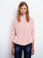 Pulover tricotat, de culoare roz, cu torsade (Top Secret)