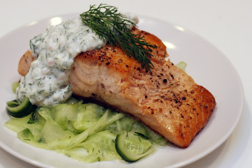 Bad Girl BBQ: Roasted Salmon with Dill Cucumber Sour Cream Sauce