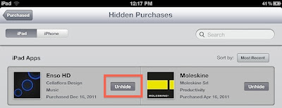 Unhide Purchased App from App Store in iTunes