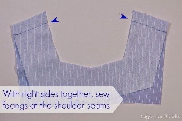 Stitch facings at the shoulder seams