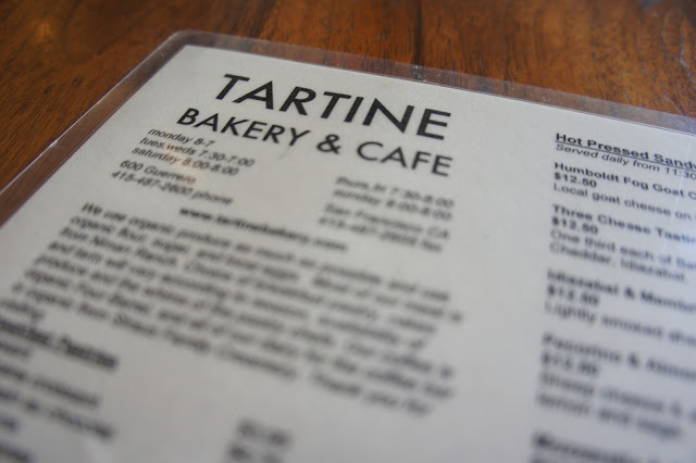 Tartine Bakery menu
