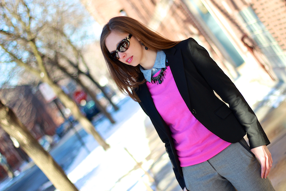 Chambray Collar, Magenta Sweater, Black Blazer, Statement Necklace | StyleSidebar
