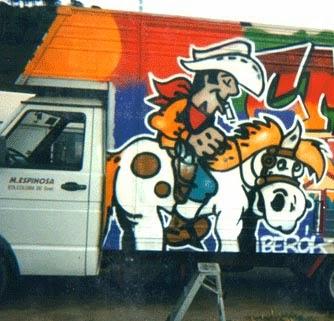 Graffiti Luckey Lucke en camión de Santa Coloma de Gramanet